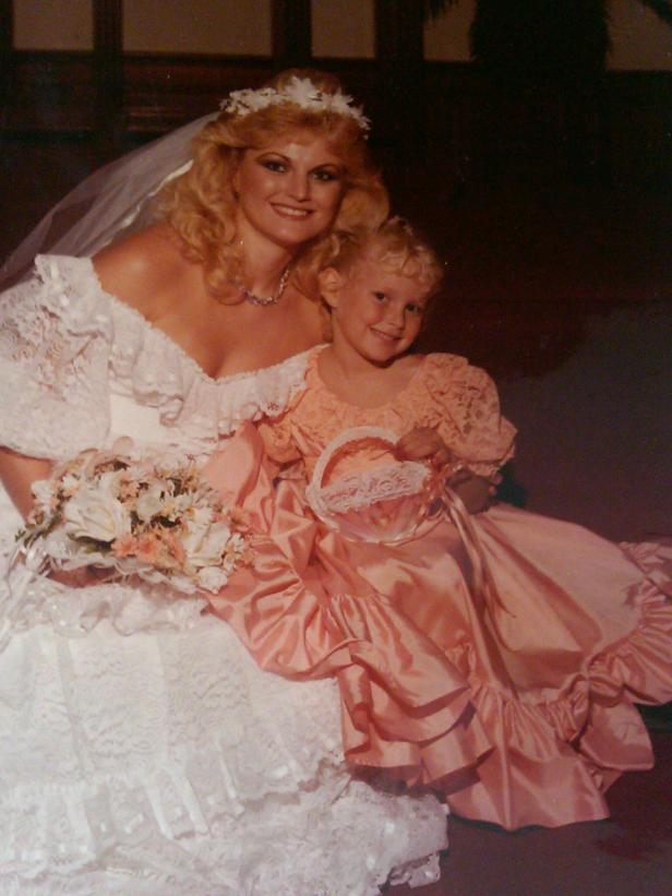 My 1984 wedding gown and tiniest bridesmaid/flower girl in the style of Diana's bridesmaids.