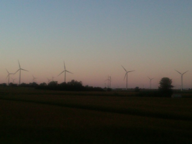 Windmills in Illinois at Sunset