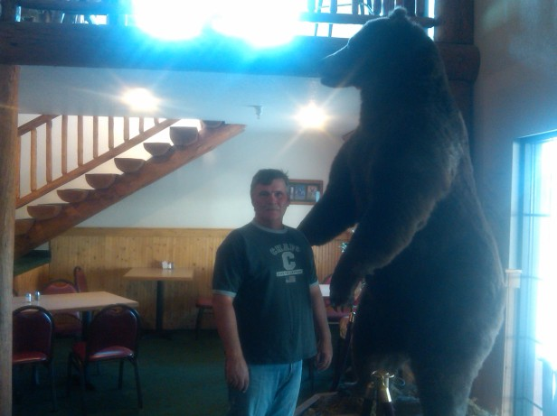 Tony with stuffed grizzly bear