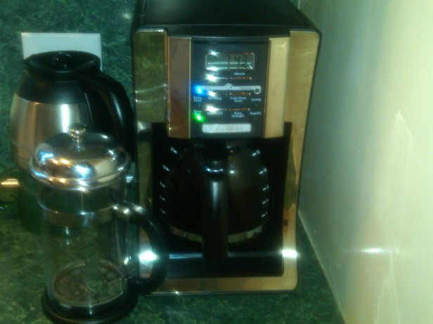 New Coffee Maker with Thermal Pot and French Press in the Front Left