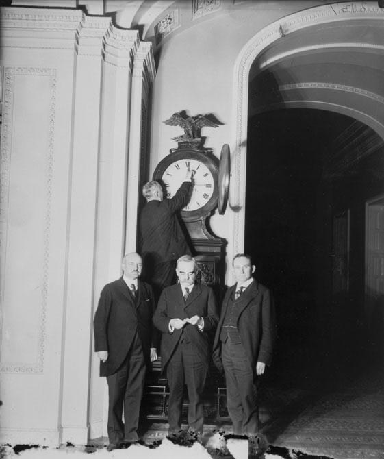 Turning forward the Ohio Clock in 1918 - photo courtesy of Wikipedia