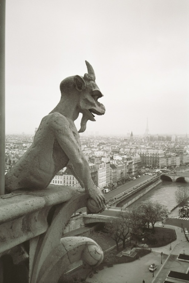 Gargoyle enjoying view of Paris, France
