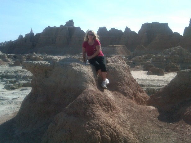View from a rock formation in the Badlands