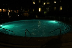 Hilton Head pool lit after dark
