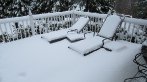 snow covered deck and chairs